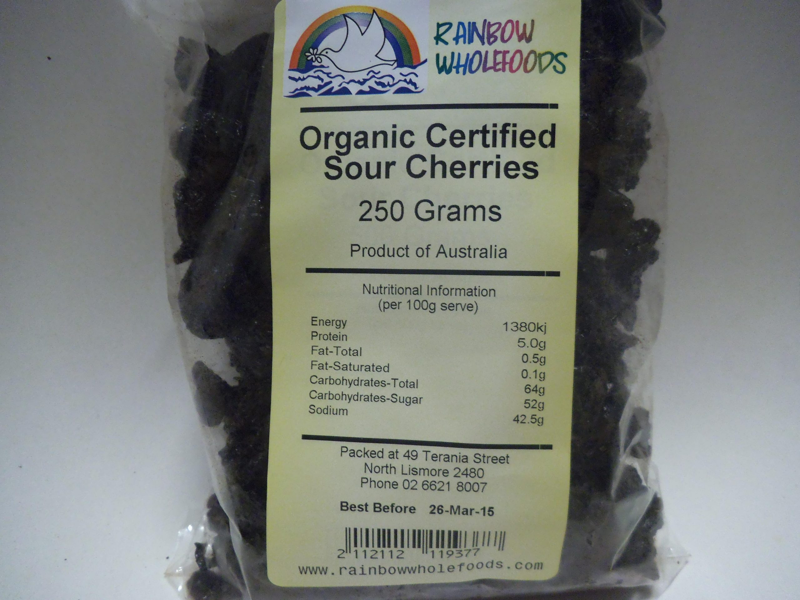 Sour Cherries Org 250g